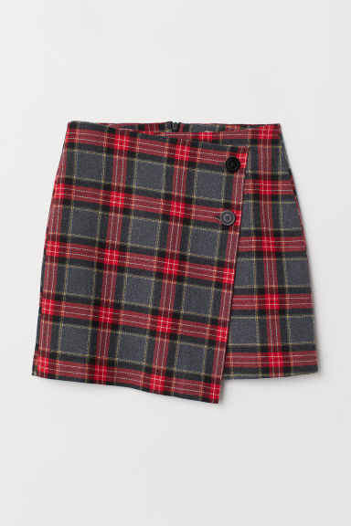 Checked skirt - Dark grey/Red checked - Ladies | H&M GB