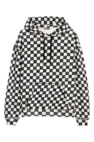 Chequered hooded top - White/Chequered -  | H&M CN