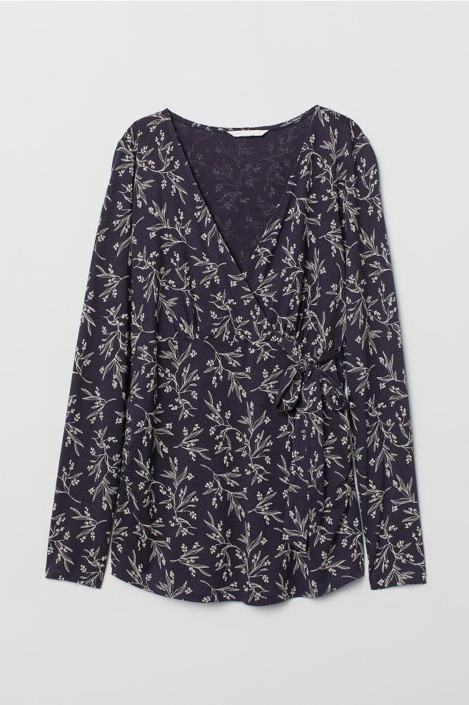 950f7910f63a1 MAMA Wrapover Top - Dark blue/mistletoe - Ladies   H&M ...