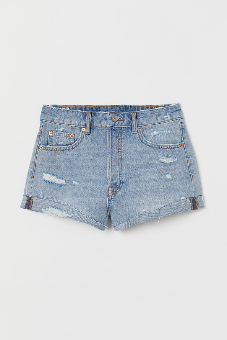 Denim shorts High Waist - Light denim blue -  | H&M