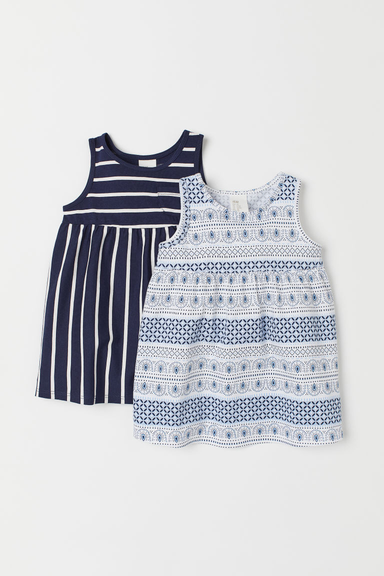 2-pack jersey dresses - Blue/White - Kids | H&M