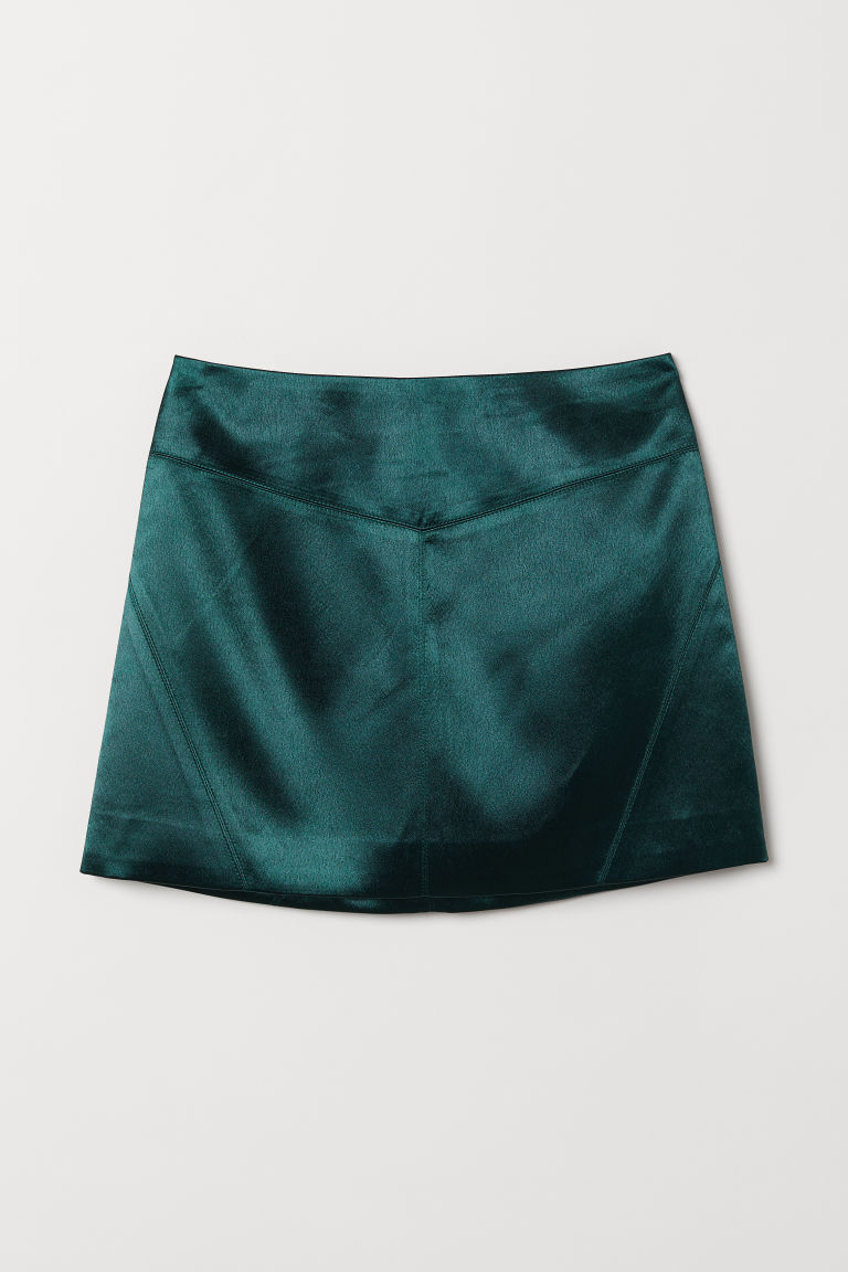 Short skirt - Emerald green -  | H&M