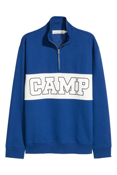 Stand-up collar sweatshirt - Bright blue/White -  | H&M