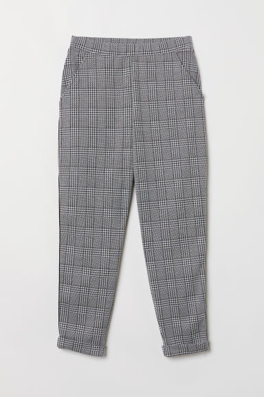 Ankle-length pull-on trousers - Black/Checked - Ladies | H&M GB
