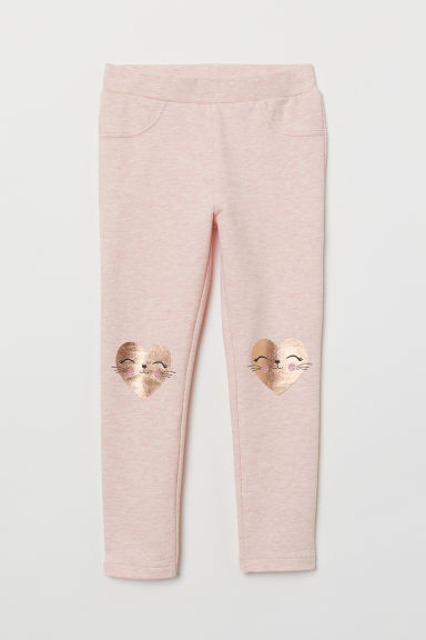 Legging met applicaties - Lichtroze gemêleerd/hartjes - KINDEREN | H&M BE