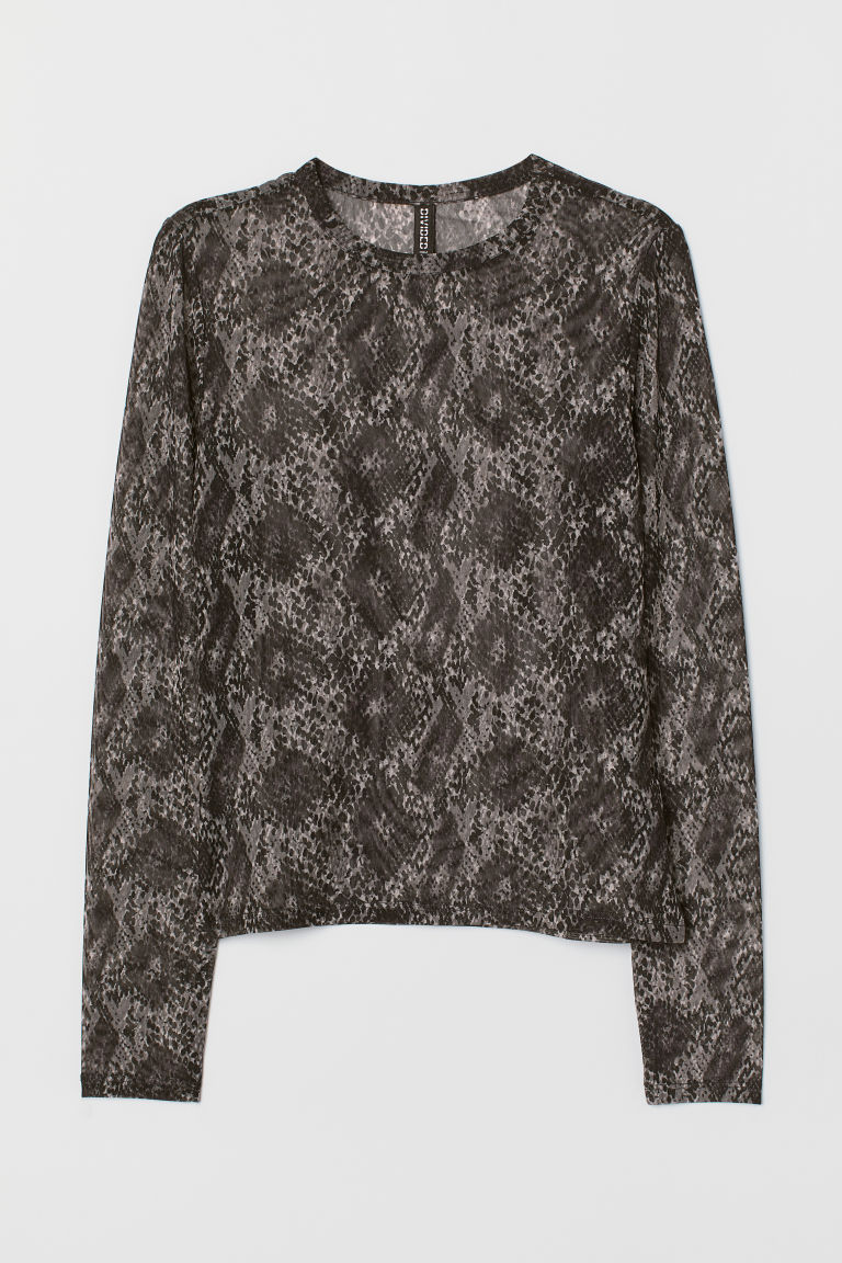 Long-sleeved mesh top - Black/Snakeskin-patterned -  | H&M