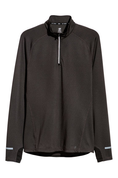 Running top with a collar - Black/Grey patterned - Men | H&M CN