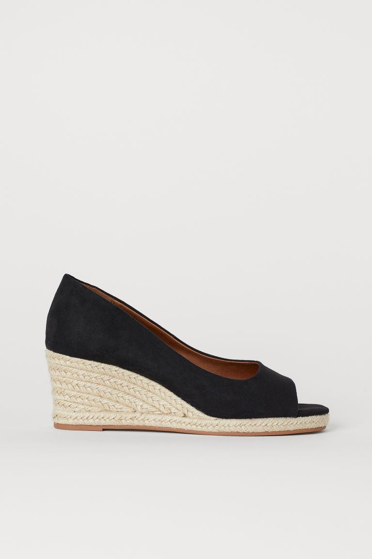 Wedge-heeled Sandals - Black - Ladies | H&M CA
