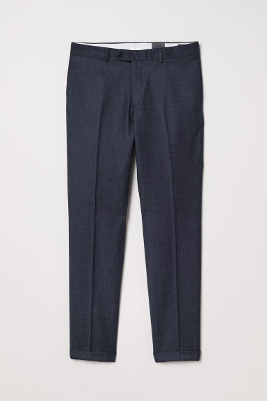 Wool suit trousers Slim Fit - Dark blue marl - Men | H&M CN