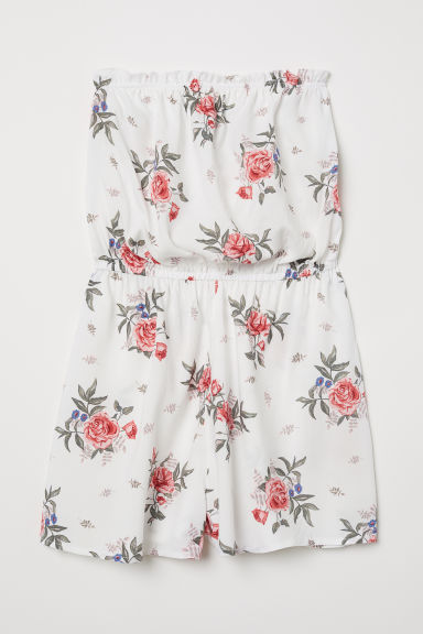 Strapless playsuit - White/Floral - Ladies | H&M