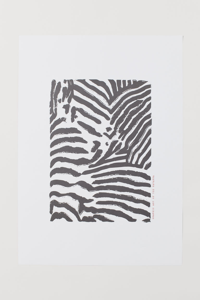 Poster - Black/Zebra print - Home All | H&M CN