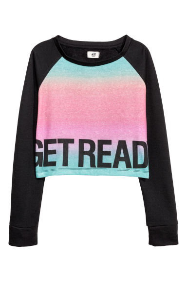 Cropped sports top - Black/Pink -  | H&M CN