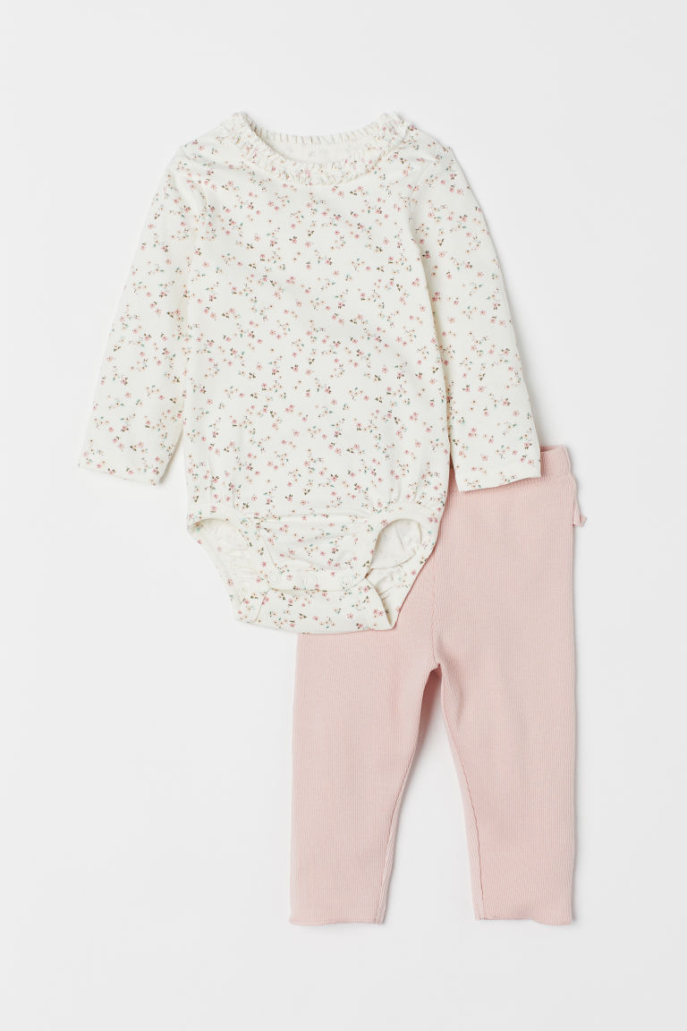 Bodysuit and leggings - Natural white/Floral - Kids | H&M