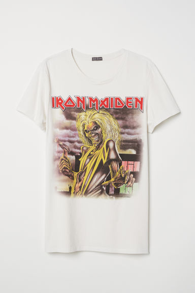 Cotton Jersey T-shirt - Light beige/Iron Maiden -  | H&M CA