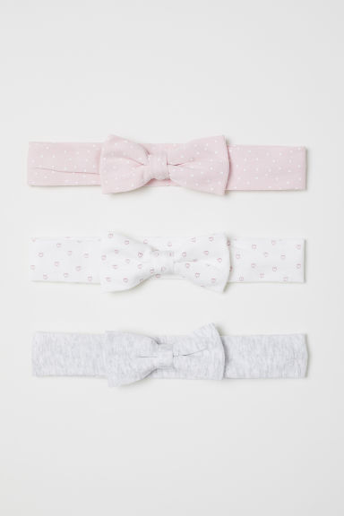 3-pack hairbands with a bow - Light pink/Spotted - Kids | H&M