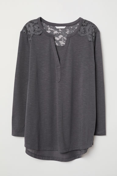 Jersey top with a lace yoke - Dark grey - Ladies | H&M
