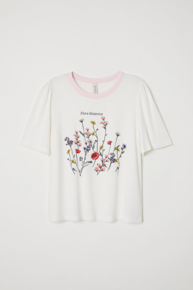 Printed T-shirt - White/Flowers - Ladies | H&M
