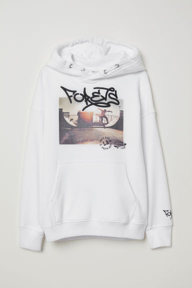 Printed hooded top - White/Forevs - Kids | H&M
