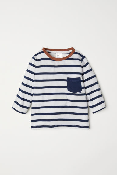 Jersey top - White/Blue striped - Kids | H&M