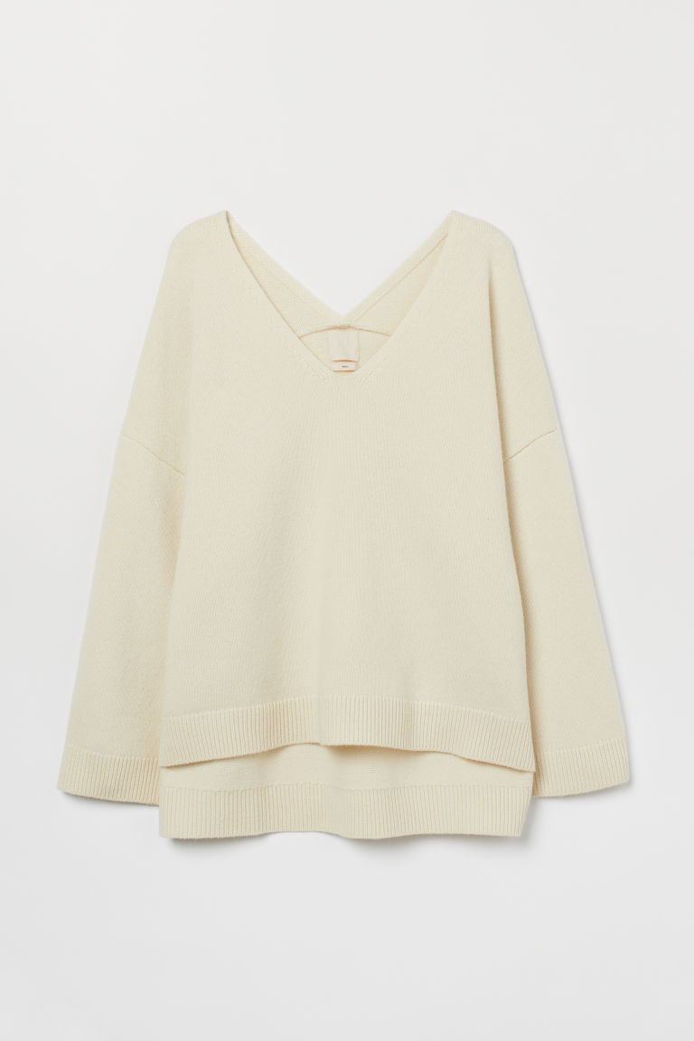 Oversized wool jumper - Natural white - Ladies | H&M GB