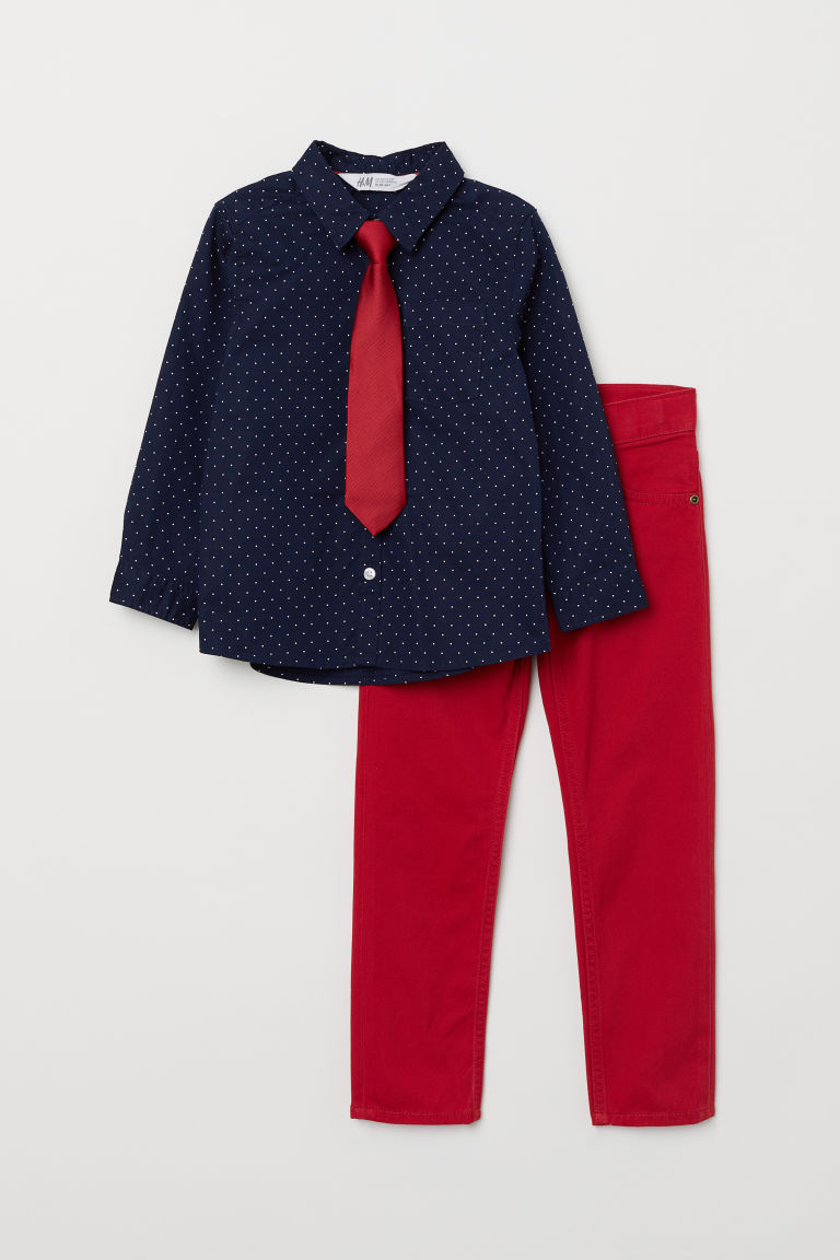 Shirt and trousers - Dark blue/Spotted - Kids | H&M CN