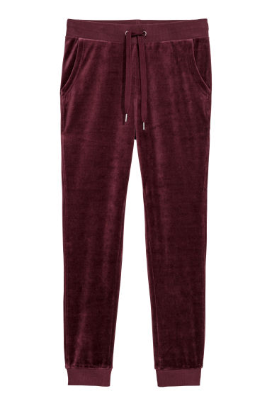 Velour sweatpants - Burgundy - Ladies | H&M