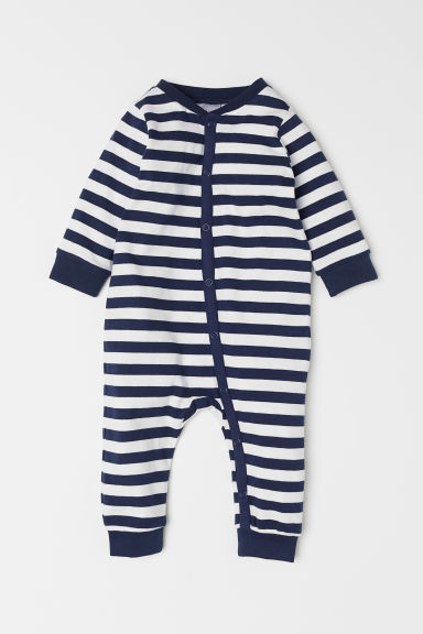All-in-one jersey pyjamas - Dark blue/White striped - Kids | H&M