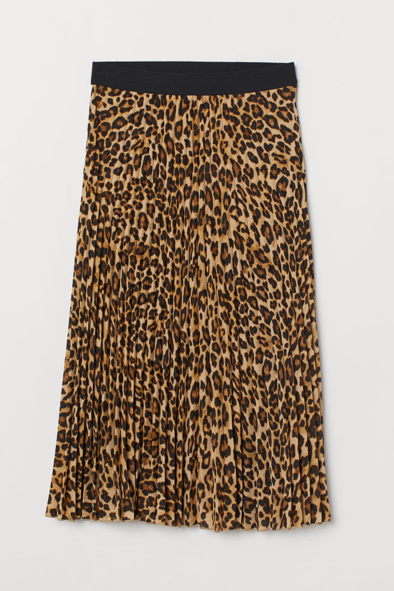 Pleated Skirt - Beige/leopard print - Ladies | H&M US
