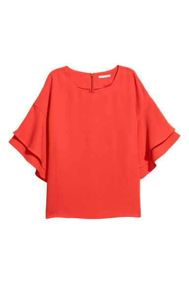 Flounce-sleeved top - Coral red - Ladies | H&M