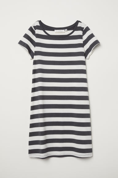 Modal-blend jersey dress - Dark grey/Striped - Ladies | H&M