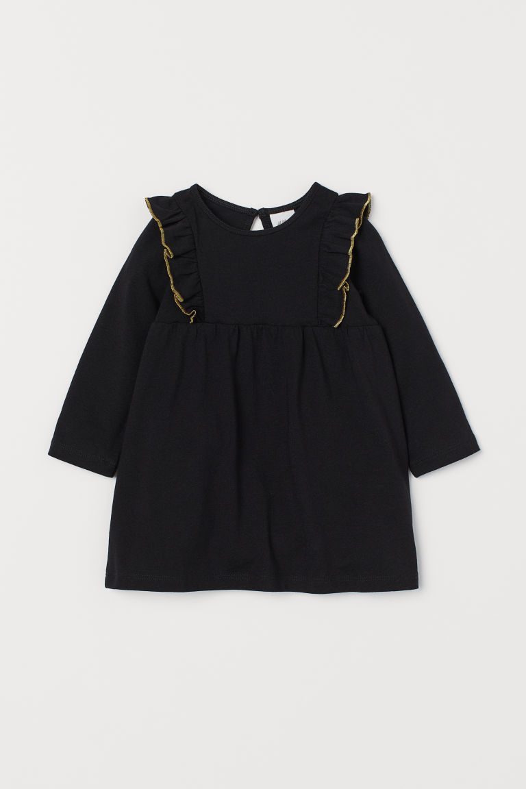 Ruffled Dress - Black/gold-colored -  | H&M US