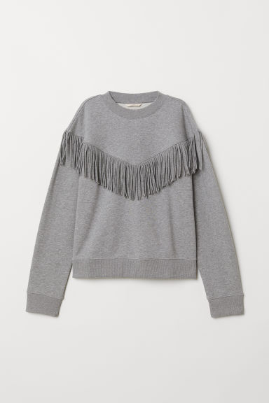 Sweatshirt with fringes - Grey marl - Ladies | H&M CN