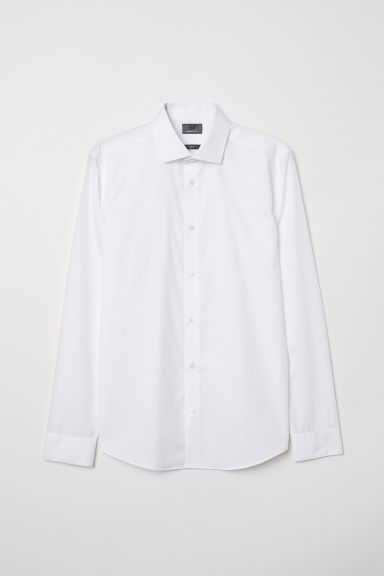 Premium cotton poplin shirt - White - Men | H&M CN