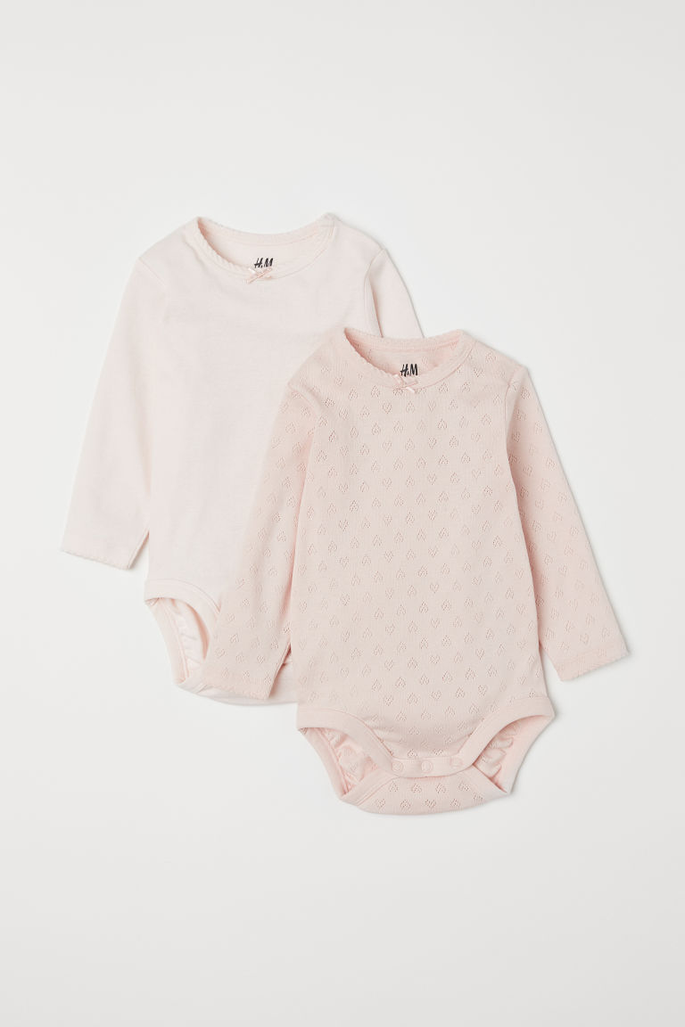2-pack Long-sleeved Bodysuits - Pink - Kids | H&M US
