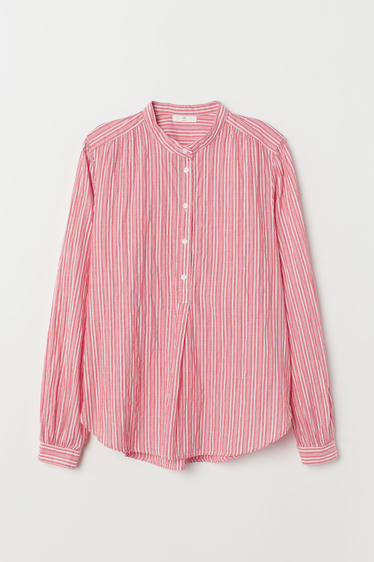 Striped Blouse - Light red/white striped - Ladies | H&M US