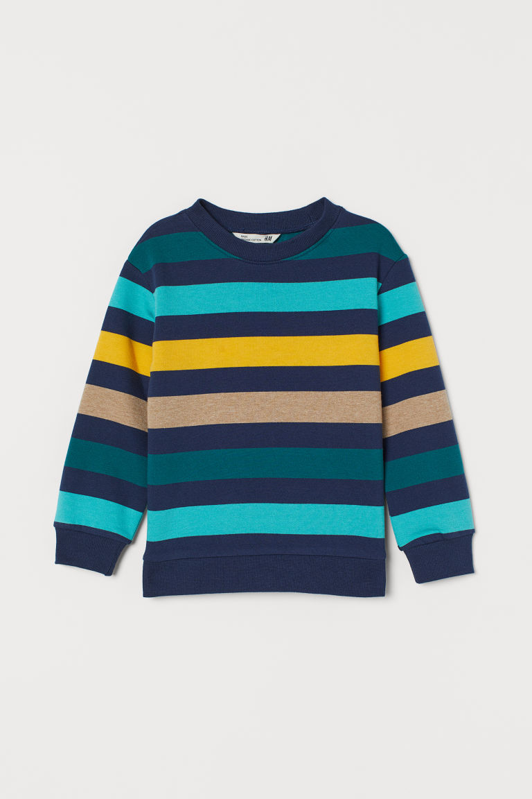 Sweatshirt - Dark blue/Striped - Kids | H&M IN