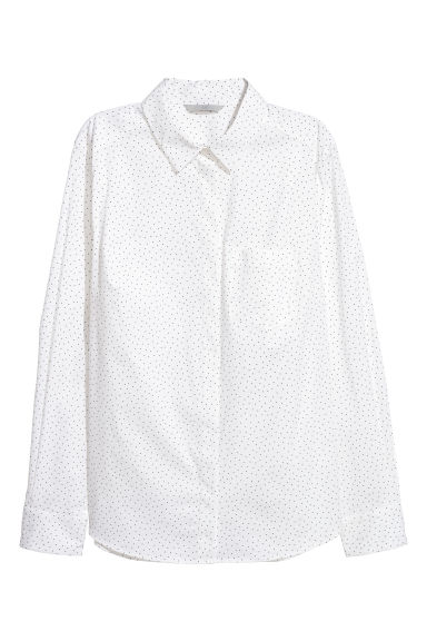 Fitted shirt - White/Spotted - Ladies | H&M CN