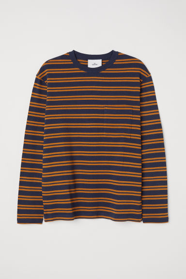 Striped cotton top - Dark yellow/Black striped - Men | H&M CN