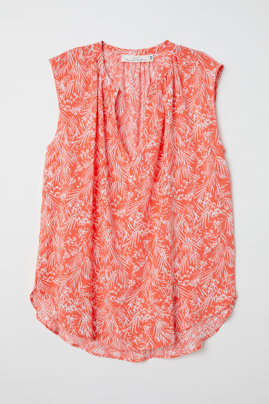 Sleeveless blouse - Red/Patterned - Ladies | H&M