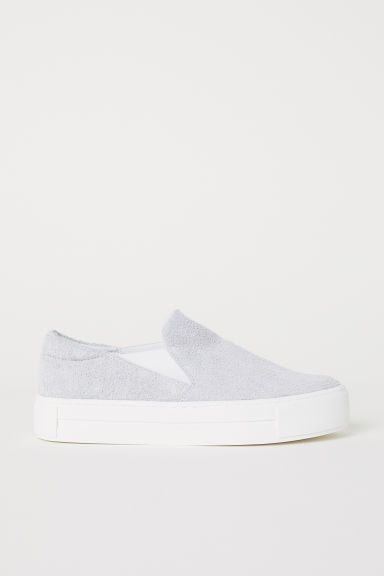 Suede slip-on trainers - Light grey - Ladies | H&M CN