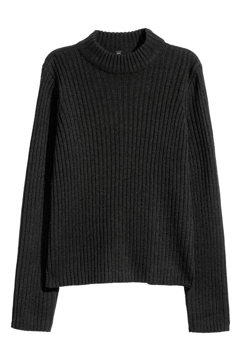 Ribbed jumper - Black -  | H&M