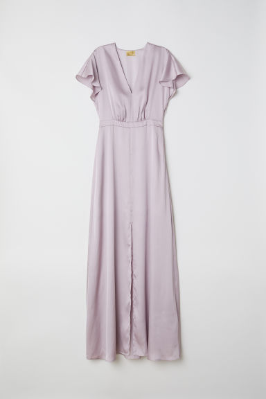 Long satin dress - Light purple - Ladies | H&M GB