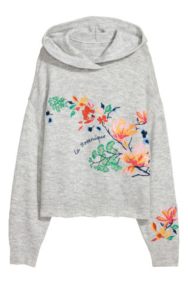 Knitted hooded jumper - Grey marl/Flowers -  | H&M