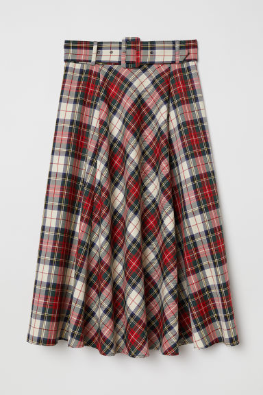 Bell-shaped skirt - Red/Checked - Ladies | H&M GB