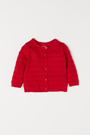 Fine-knit cardigan - Red - Kids | H&M