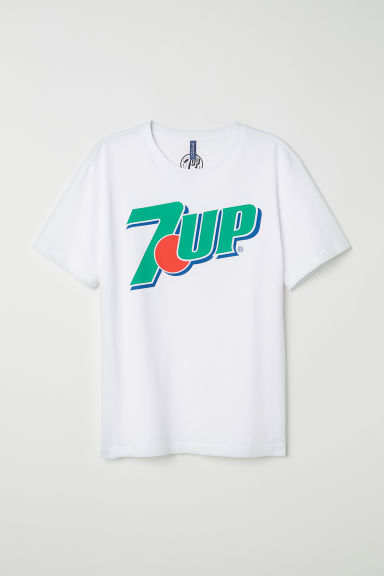 T-shirt with a motif - White/7 Up - Men | H&M CN