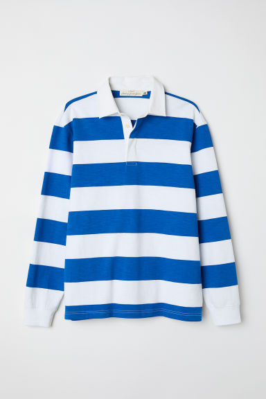 Rugby Shirt Bright Blue Striped Men