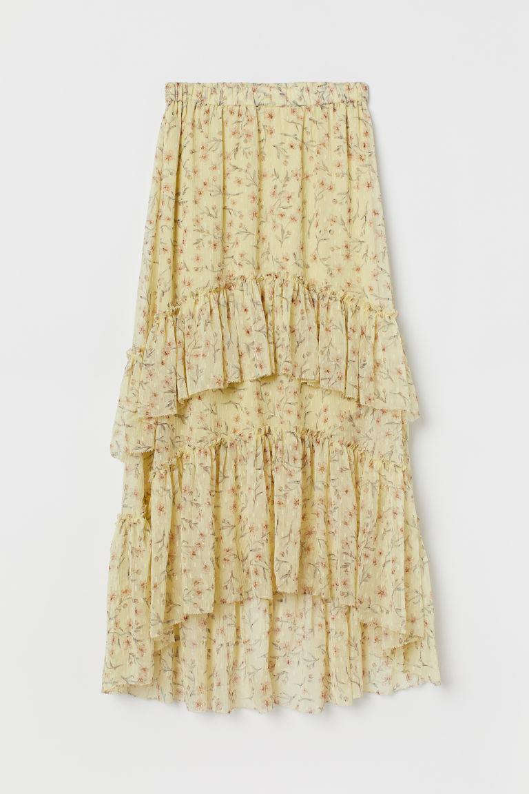 Patterned tiered skirt - Light yellow/Floral - Ladies | H&M GB