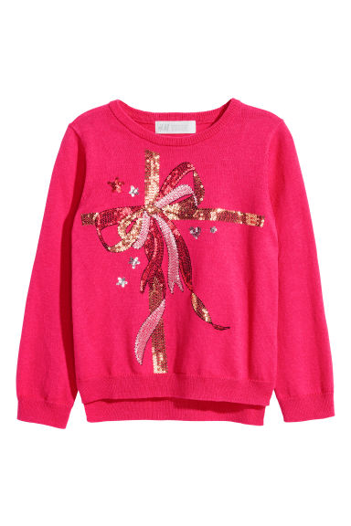 Sequined jumper - Cerise/Bow - Kids | H&M