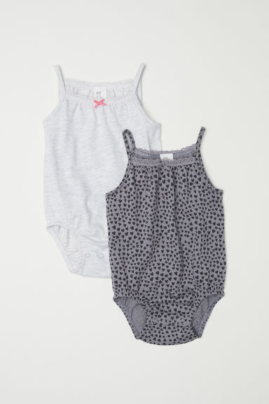 2-pack sleeveless bodysuits - Grey/Hearts - Kids | H&M